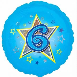 Blue Star Happy 6th Birthday Balloon