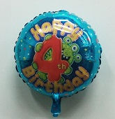 Happy 4th Birthday Alien Monster Balloon