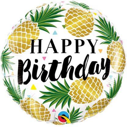 Golden Pineapple Happy Birthday Balloon
