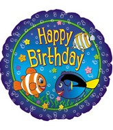 Happy Birthday Cartoon Fish Standard Balloon