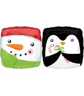 Penguin Snowman Double Sided Standard Balloon