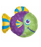 Purple & Green Fish Supershape Balloon