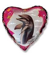 Pink Heart Dolphin Standard Balloon
