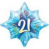 Starburst 21st Birthday 21 Blue Supershape Balloon