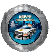 Police Car Happy Birthday Standard Balloon