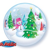 Festive Trees & Snowmen Scene Bubble Balloon