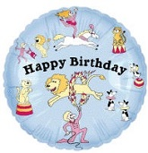 Blue Circus Ring Happy Birthday Standard Balloon