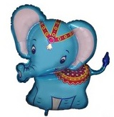 Blue Circus Elephant Supershape Balloon