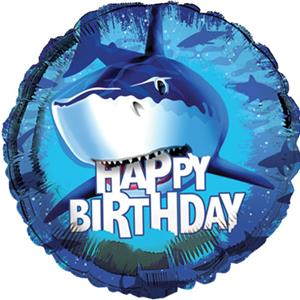 Happy Birthday Shark Splash Standard Balloon