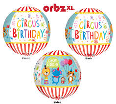 Circus Birthday Orbz Sphere Balloon