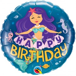 Happy Birthday Purple & Teal Mermaid Standard Balloon