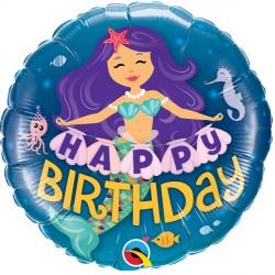 Happy Birthday Purple & Teal Mermaid Standard Balloon