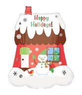 Large Happy Holidays Scenic Snowman Home Balloon
