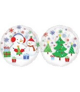 Large Clear Snowman Xmas Gift Scene Balloon