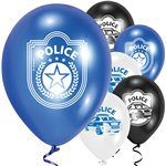 Set Of 6 Police Latex Balloons