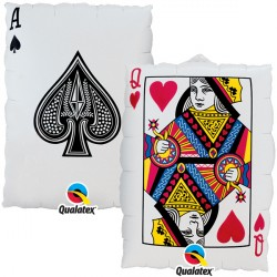 Card Ace Spades Queen Of Hearts Supershape Balloon