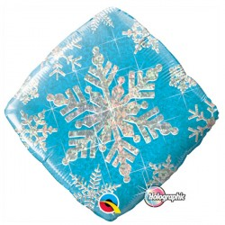 Holographic Snowflake Sparkle Blue Standard Balloon