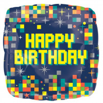Happy Birthday Computer Pixels Standard Balloon