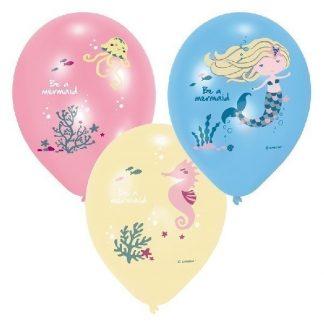 Set Of 6 Be A Mermaid Latex Balloons