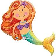 Enchanting Holographic Mermaid Supershape Balloon