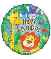 Happy Birthday Jungle Animals Standard Balloon