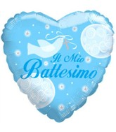 Il Mio Battesimo Boy Dove Heart Balloon