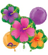 Hibiscus Tropical Flowers Balloon Bouquet