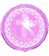 Pink 1st Holy Communion Dove Standard Balloon
