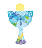 Blue 1st Communion Chalice Cup Supershape Balloon