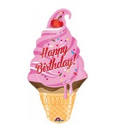 Happy Birthday Ice Cream Supershape Balloon