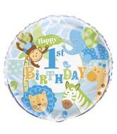 Safari 1st Birthday Blue Standard Balloon