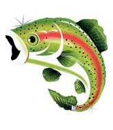 Holographic Rainbow Trout Fishing Supershape Balloon