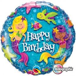 Happy Birthday Holographic Mermaid Standard Balloon
