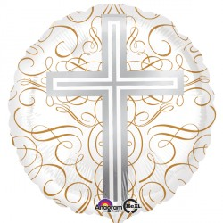 Elegant Cross White Silver Gold Standard Balloon