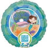 QR Reader Happy Birthday Mermaid Standard Balloon