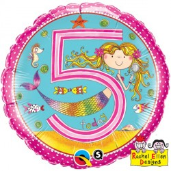 Happy 5th Birthday Mermaid Standard Balloon