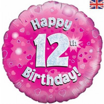Happy 12th Birthday Pink Standard Balloon