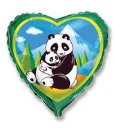Green Heart Pandas Hugging Standard Balloon