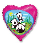Pink Heart Pandas Playing Standard Balloon