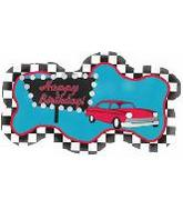 Happy Birthday Checkered Cadillac Supershape Balloon