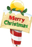 North Pole Merry Christmas Sign Supershape Balloon