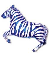 Zebra Blue Stripe Supershape Balloon