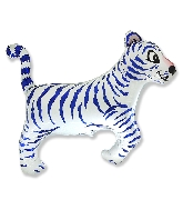 Tiger White Blue Stripes Supershape Balloon