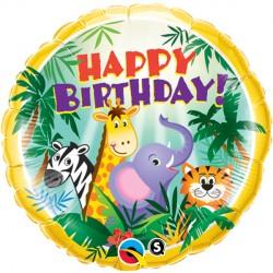 Happy Birthday Jungle Friends Standard Balloon