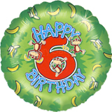Happy 6th Birthday Monkey Standard Balloon