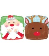 Santa Reindeer Double Sided Standard Balloon