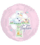 Pink Spring Scene Baptism Standard Balloon