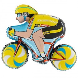 Yellow Cyclist Racing Bike Rider Supershape Balloon