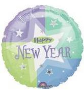 Blue White Star Happy New Year Standard Balloon