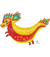 Yellow Chinese Dragon Supershape Balloon